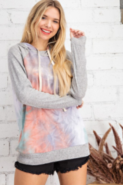 143 Story Fleece Tie Dye Hooded Pullover Top - Product Mini Image