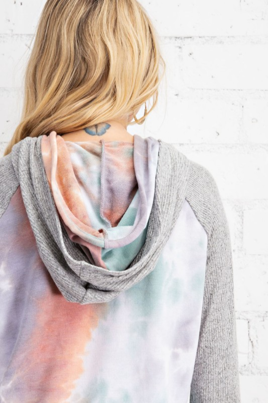 143 Story Fleece Tie Dye Hooded Pullover Top - Back Cropped Image