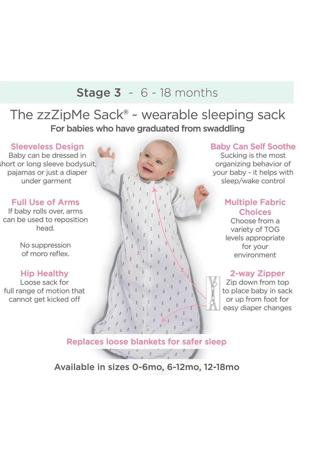 Swaddle Designs Fleece zzZipMe Sack - Front Full Image