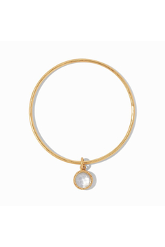 Shoptiques Product: Fleur-de-Lis Bangle-Gold/Iridescent Clear Crystal Medium