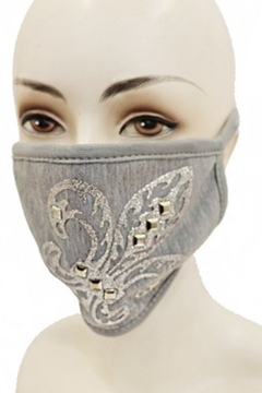 Cap Zone FLEUR DE LIS SILVER APPLIQUE FACE MASK - Alternate List Image