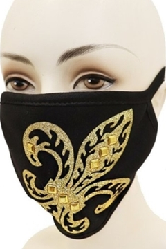Cap Zone FLEUR DE LIS GOLD APPLIQUE on BLACK FACE MASK - Alternate List Image