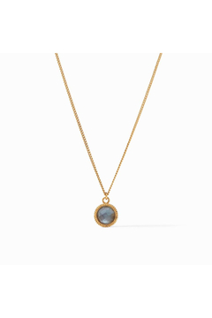 Julie Vos Fleur-de-Lis Solitaire Necklace-Gold/Iridescent Slate Blue Reversible - Product List Image
