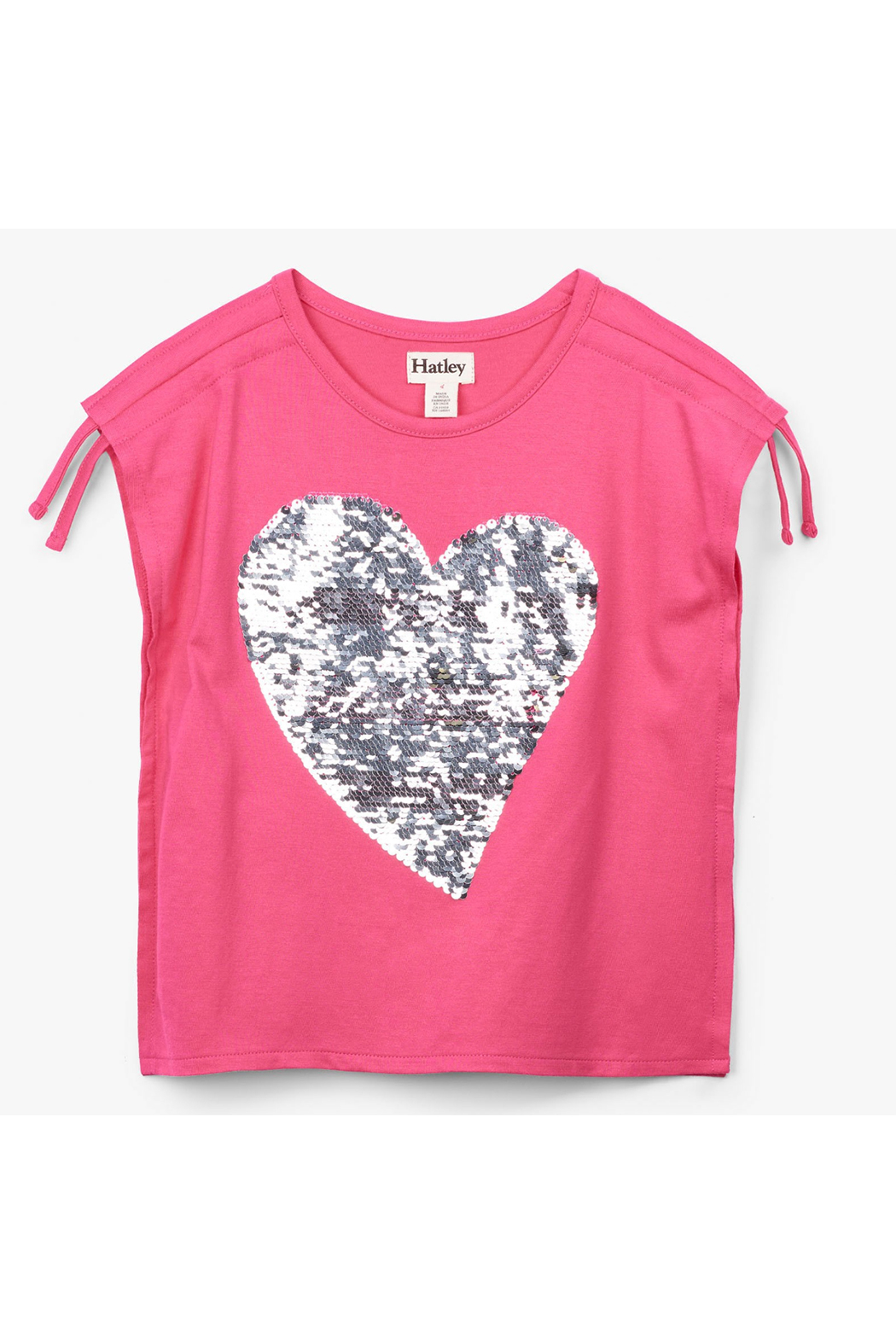 Hatley Flip Sequin Heart Cinched Shoulder Tee - Side Cropped Image