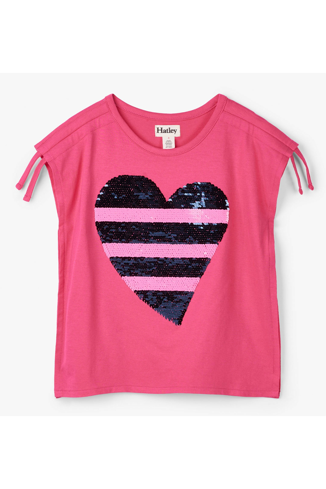 Hatley Flip Sequin Heart Cinched Shoulder Tee - Main Image