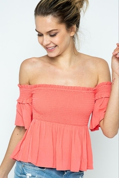 in the Beginning Flirt & Tell Smocked Top - Product List Image