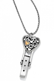 Brighton Floating Heart Badge Clip Necklace - Product Mini Image