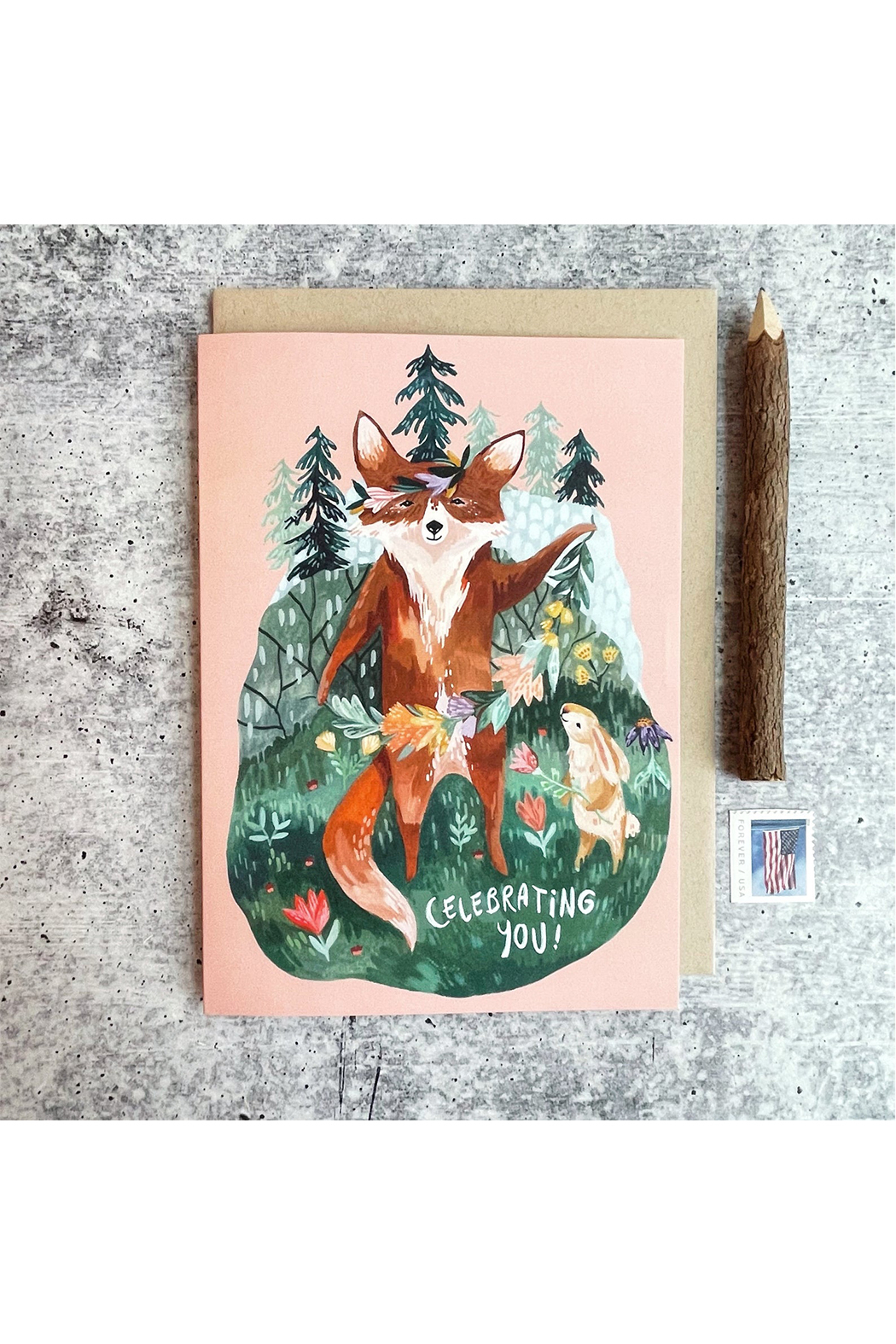 Little Pine Artistry Flora Fox Card - Main Image