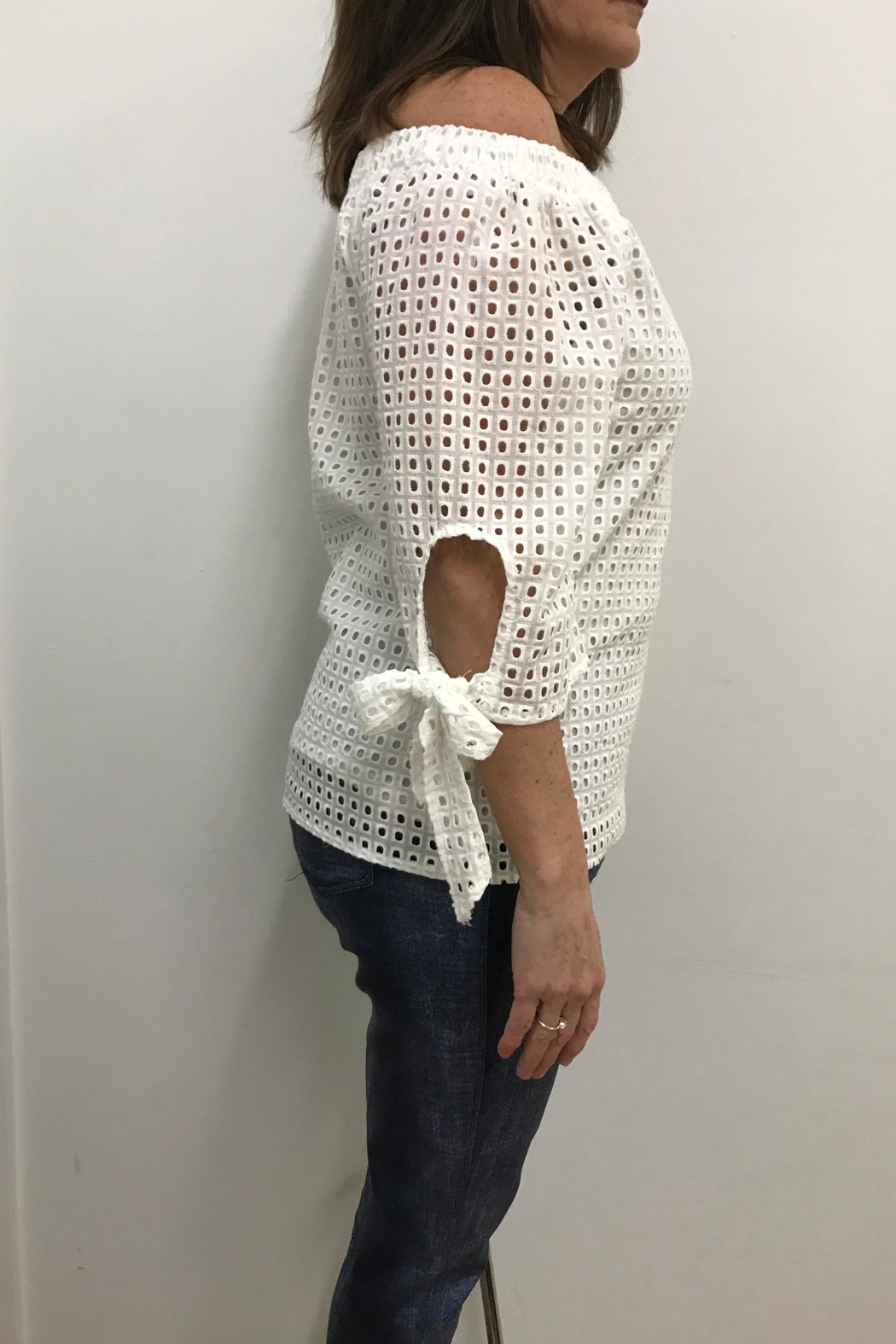 Flora Ashley Eyelet Top - Front Full Image