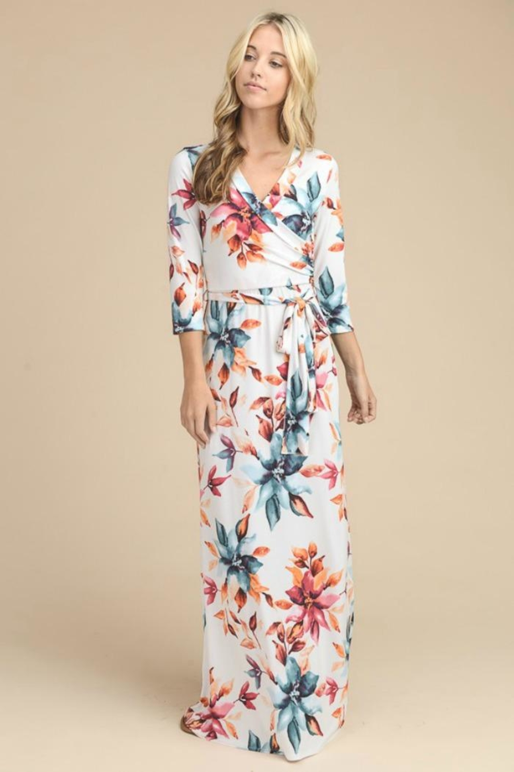 Vanilla Bay Floral 3 4 Sleeve Maxi Dress From Minnesota By 1776