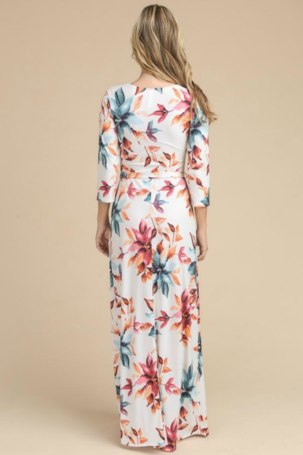 vanilla bay Floral 3/4-Sleeve Maxi-Dress - Front Full Image
