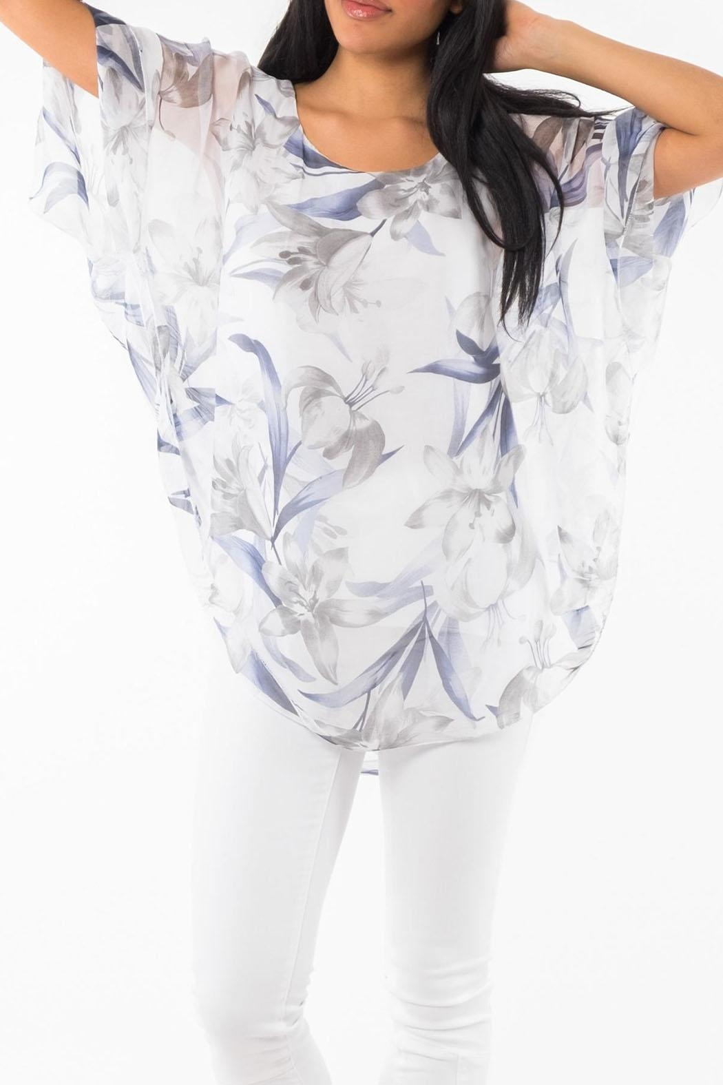 M made in Italy Floral 3/4-Sleeve Top - Main Image