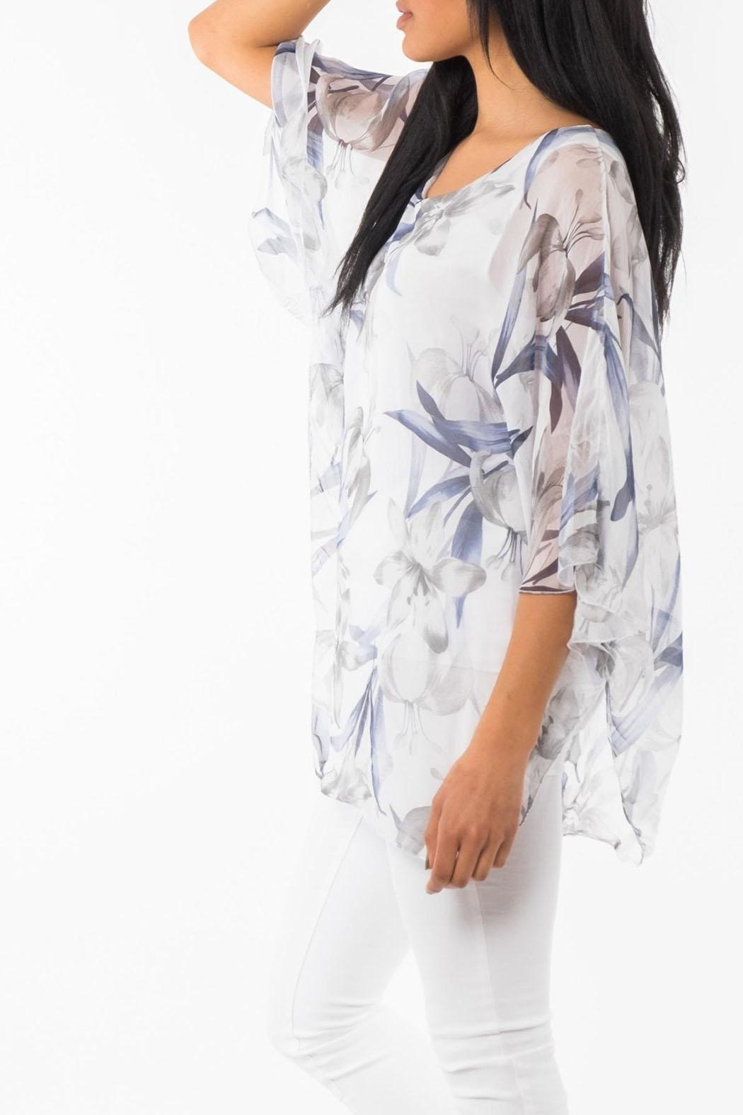 M made in Italy Floral 3/4-Sleeve Top - Front Full Image