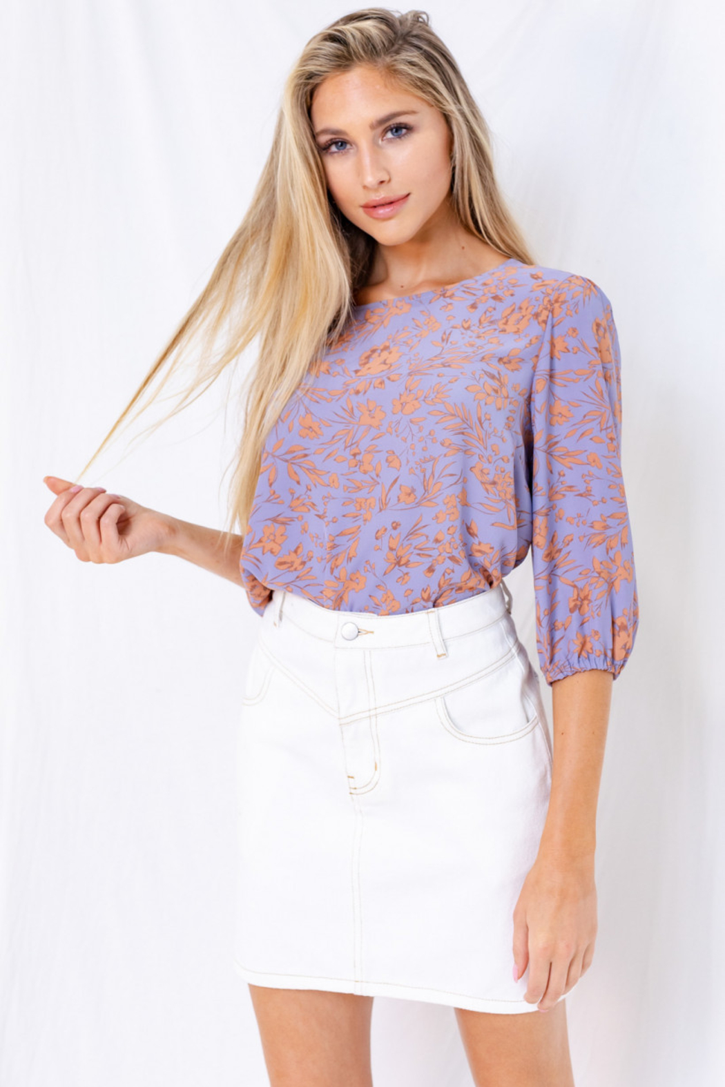 Gilli  Floral 3/4 Sleeve Top with Keyhole - Main Image