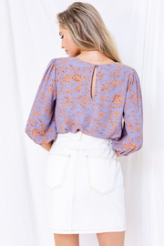 Gilli  Floral 3/4 Sleeve Top with Keyhole - Back cropped