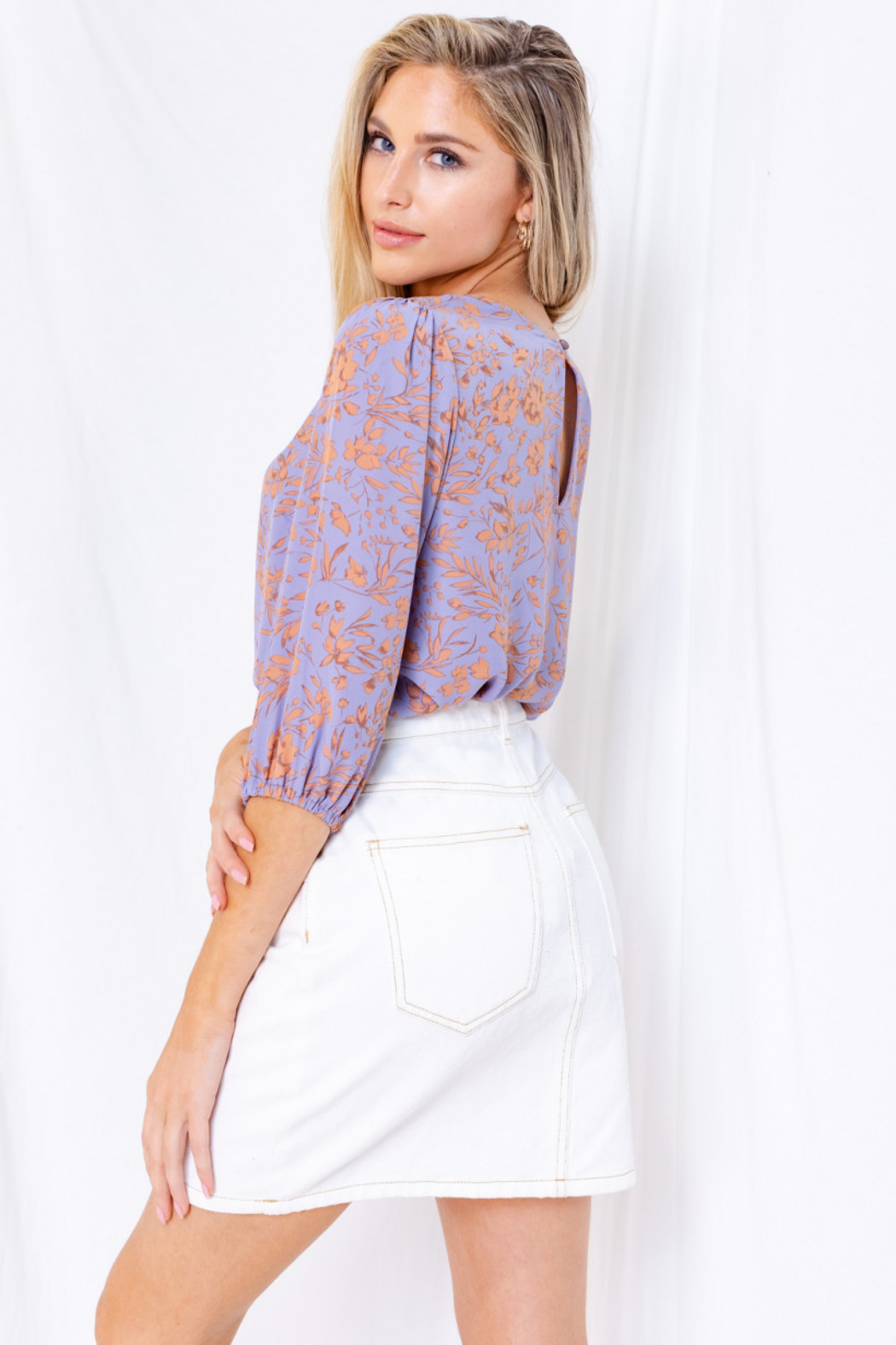 Gilli  Floral 3/4 Sleeve Top with Keyhole - Front Full Image