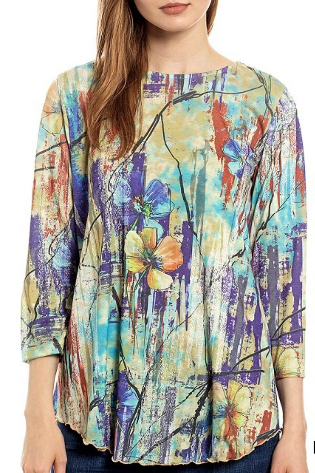 Katina Marie Floral Abstract Top - Front Cropped Image