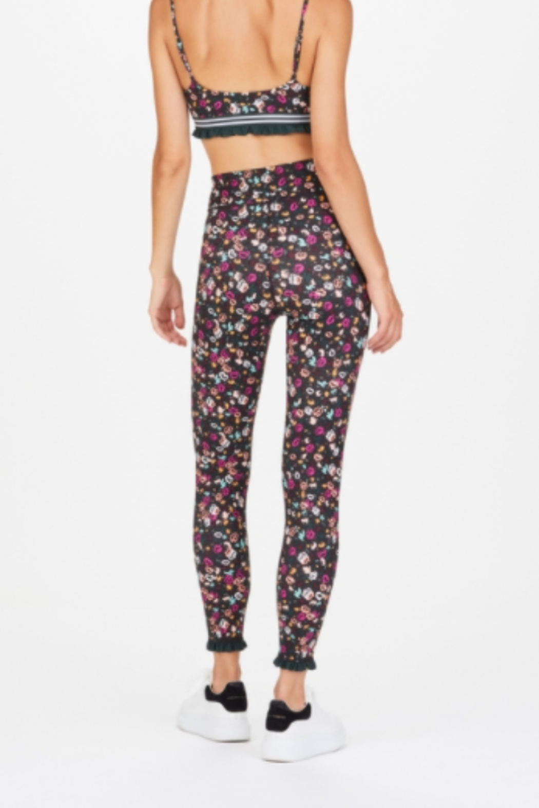 Upside Floral Active Legging with mini ruffle edge - Side Cropped Image