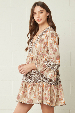entro  Floral and Leopard Print Contrast Tiered Dress - Product List Image
