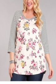 Chris & Carol Apparel Floral and Stripe Baseball Tee - Front cropped