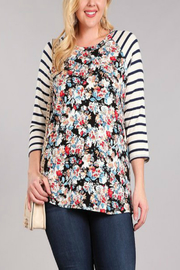 Chris & Carol Apparel Floral and Stripe Baseball Tee -PLUS- - Product Mini Image