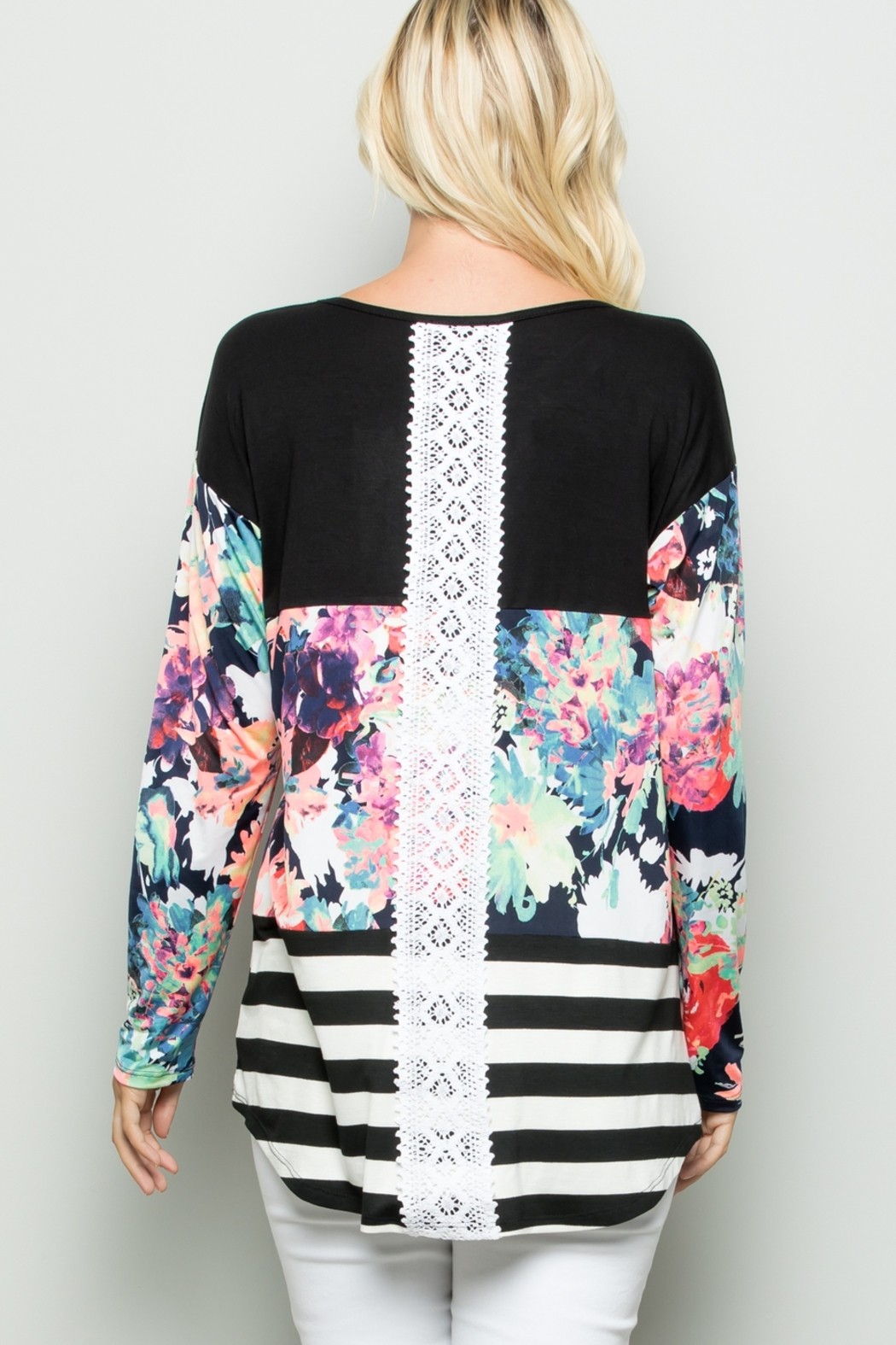 Lyn -Maree's Floral and Stripe Color Block Top - Main Image