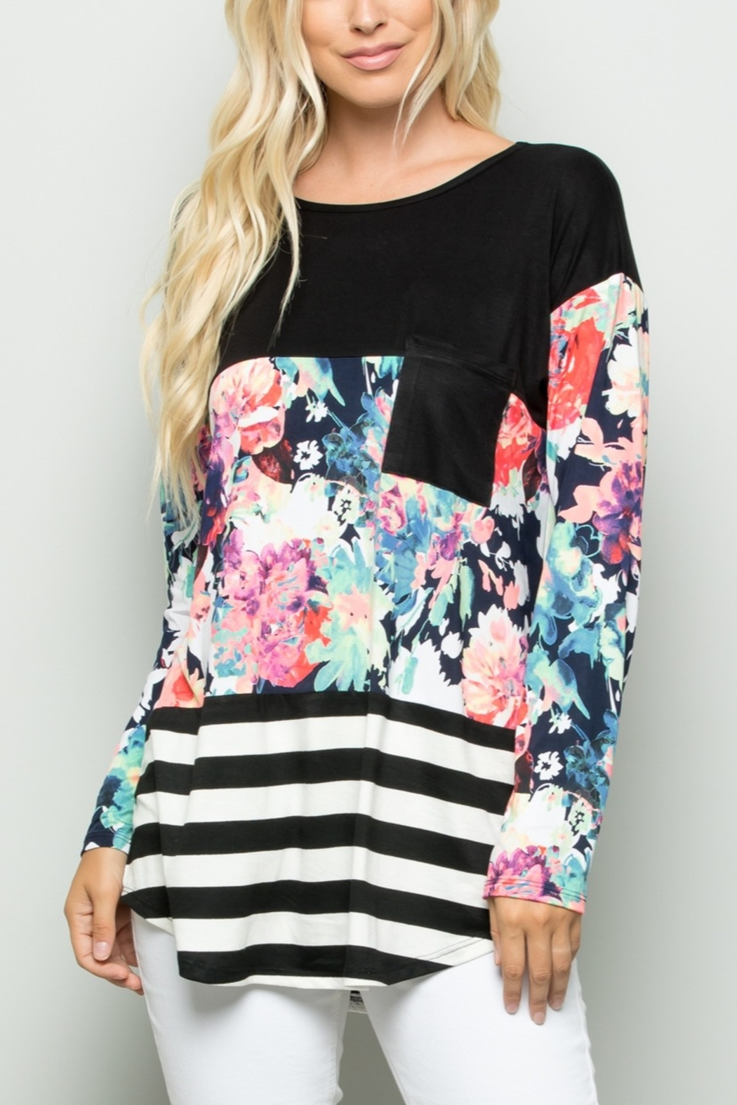 Lyn -Maree's Floral and Stripe Color Block Top - Front Cropped Image