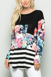 Lyn -Maree's Floral and Stripe Color Block Top - Front cropped