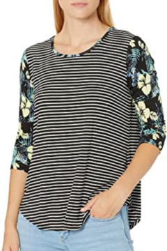 Tribal Jeans Floral and Stripe Top - Alternate List Image
