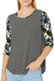 Tribal Jeans Floral and Stripe Top - Product Mini Image