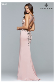 Faviana Floral Applique Gown - Front full body