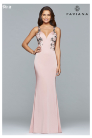 Faviana Floral Applique Gown - Front cropped