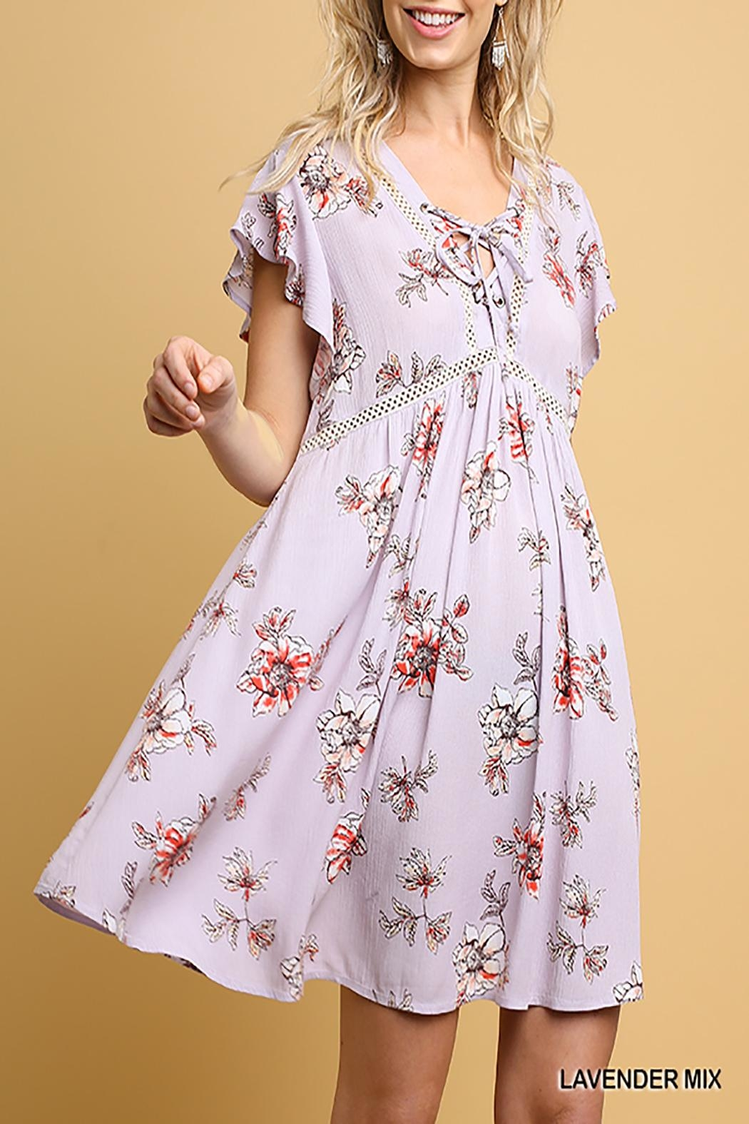 Umgee USA Floral Babydoll Dress - Front Cropped Image