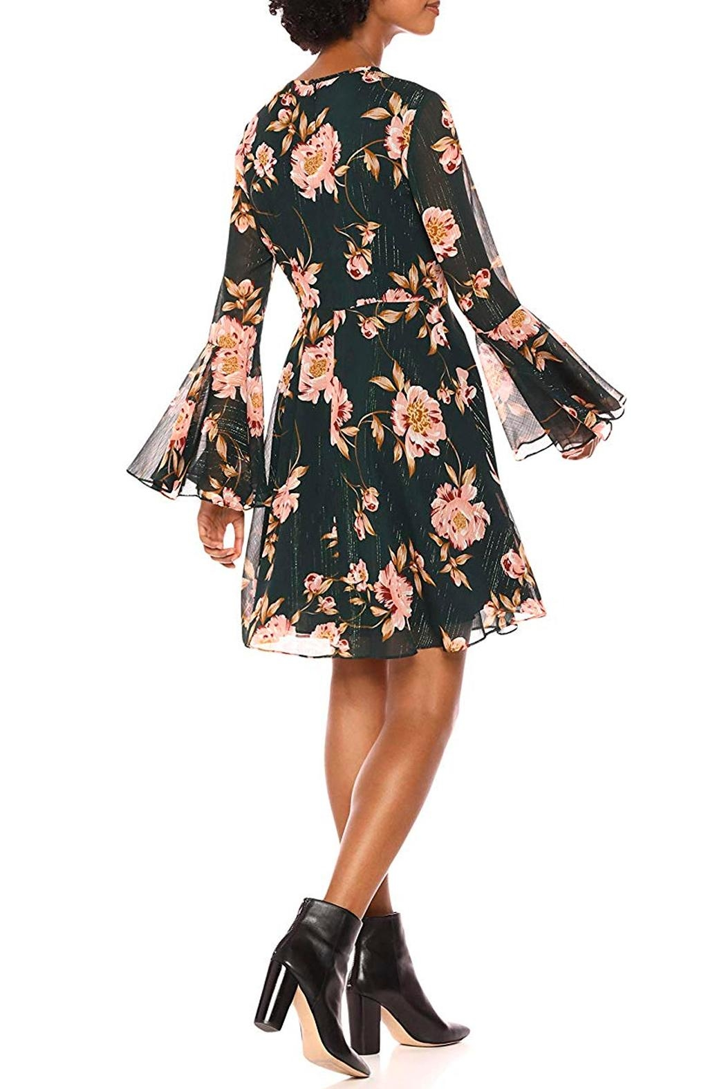 Donna Morgan Floral Bell-Sleeve Chiffon-Dress - Front Full Image