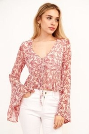 Olivaceous Floral Bell-Sleeve Top - Product Mini Image