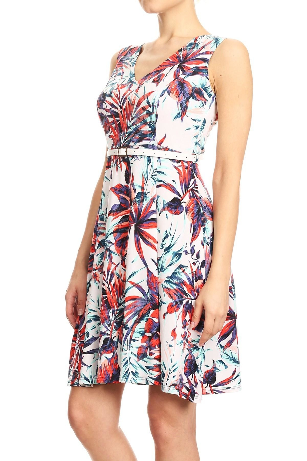 Purple Rain Floral Belted Dress - Front Full Image