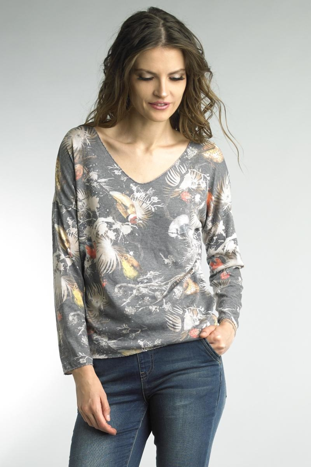 Tempo Paris Floral Bird Sweater - Front Cropped Image