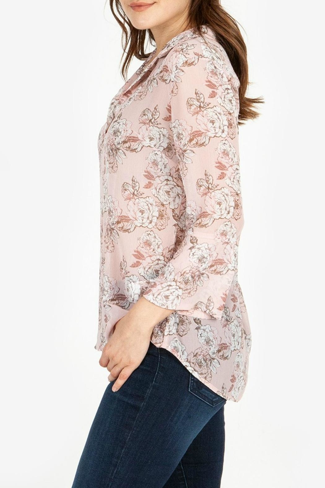 Kut from the Kloth Floral-Blouse With Flounce-Sleeves - Side Cropped Image