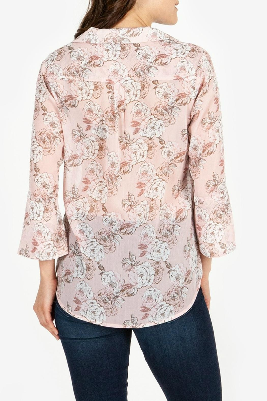 Kut from the Kloth Floral-Blouse With Flounce-Sleeves - Front Full Image