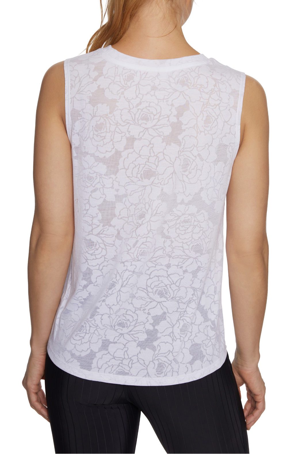 Betsey Johnson Floral Burnout Swing Muscle Tank - Side Cropped Image