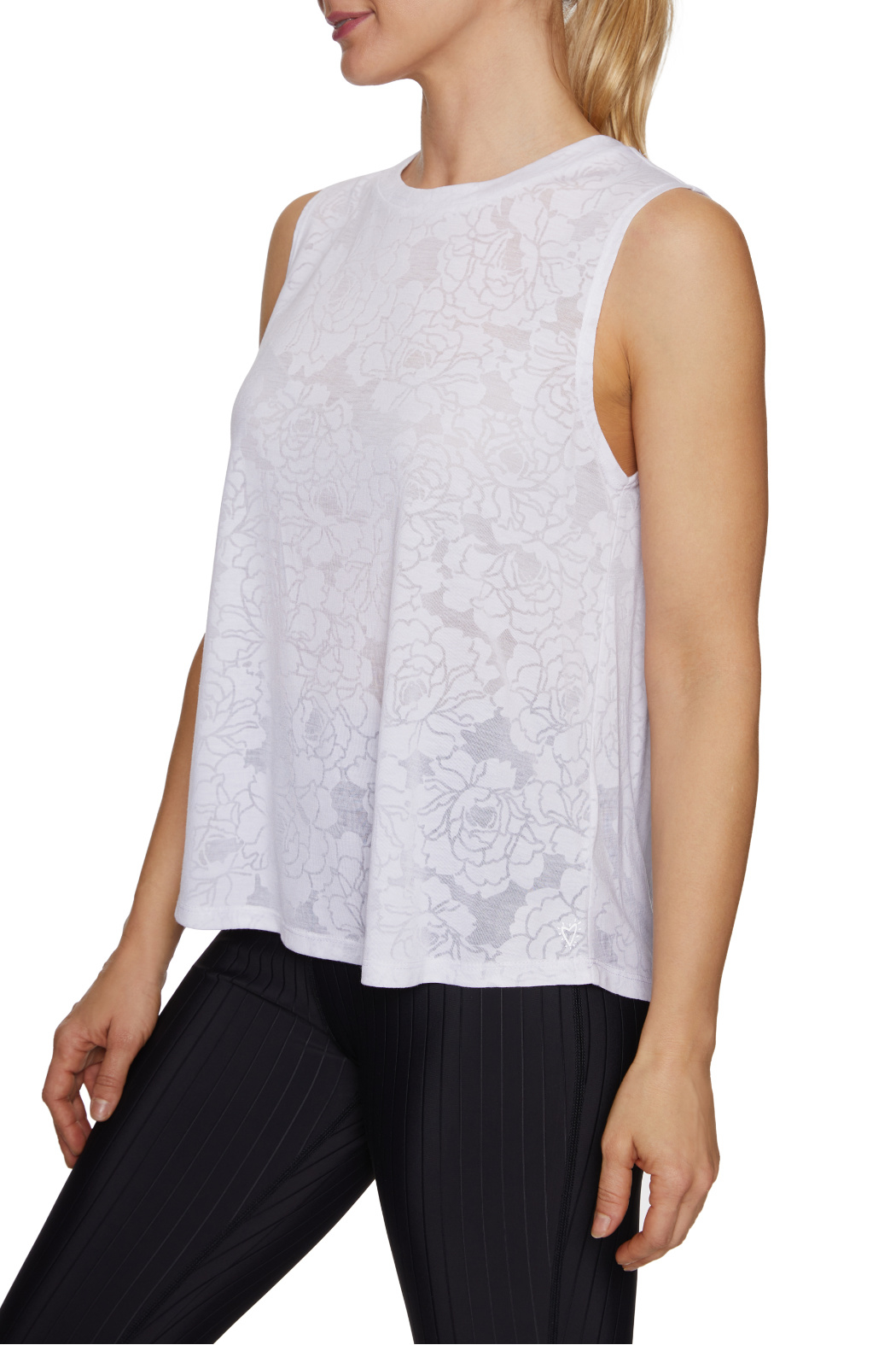 Betsey Johnson Floral Burnout Swing Muscle Tank - Front Full Image