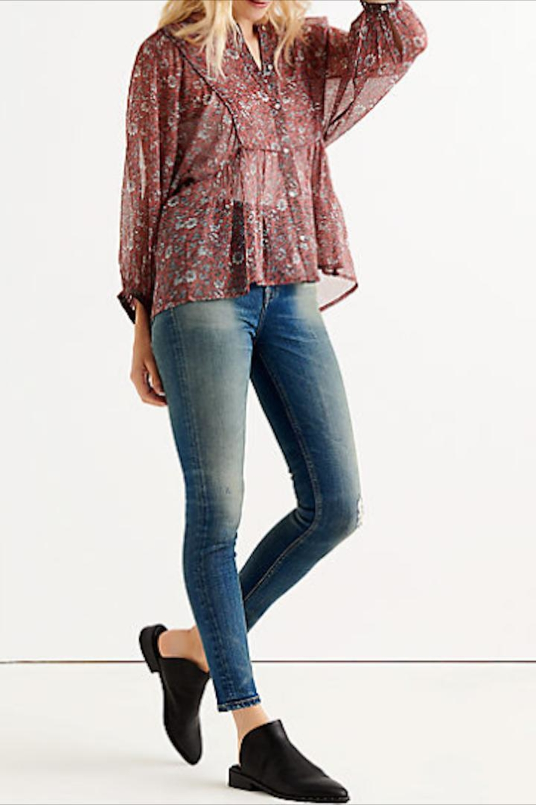 Lucky Brand Floral Button-Down Blouse - Front Full Image