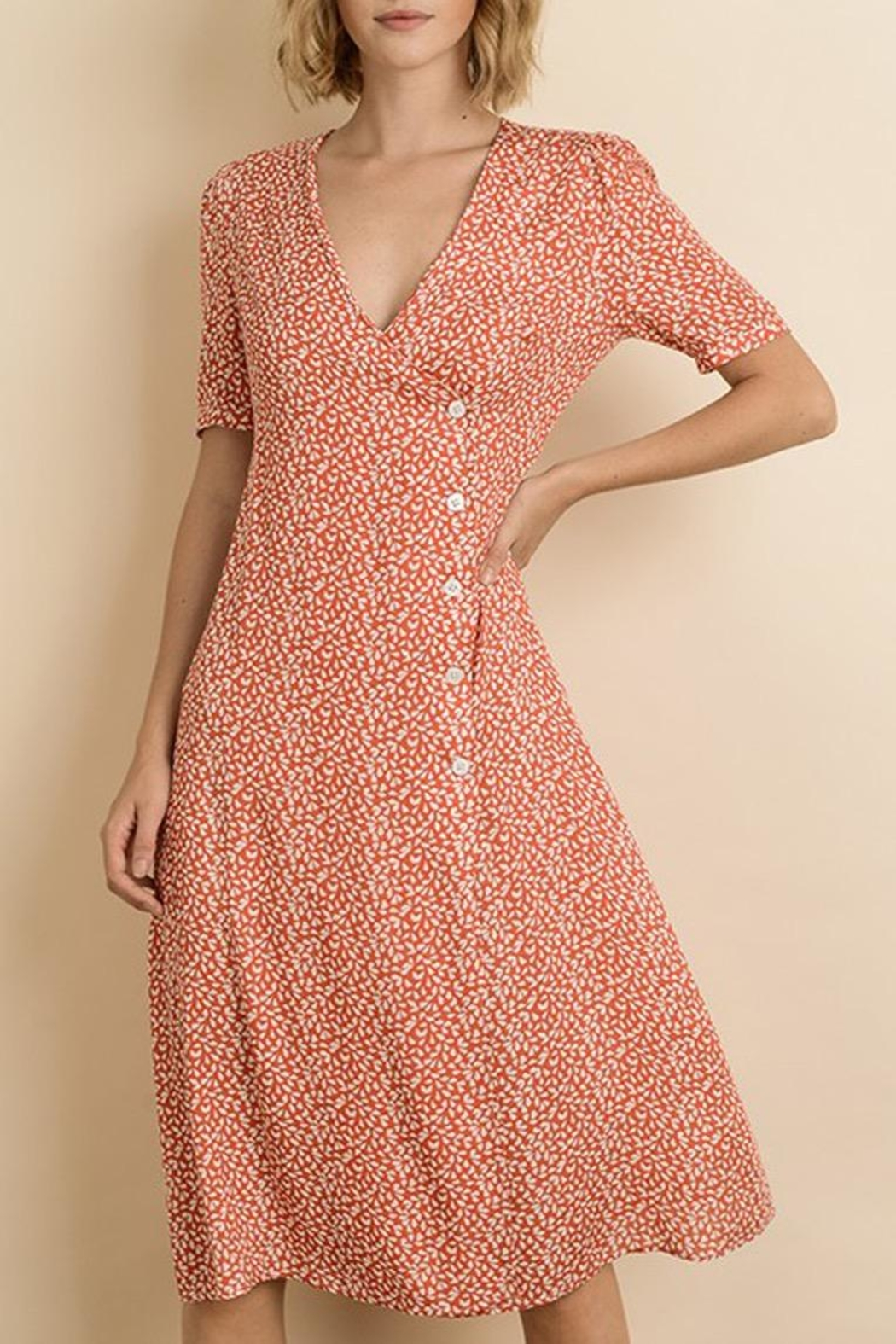 dress forum Floral Button-Down Midi - Front Cropped Image