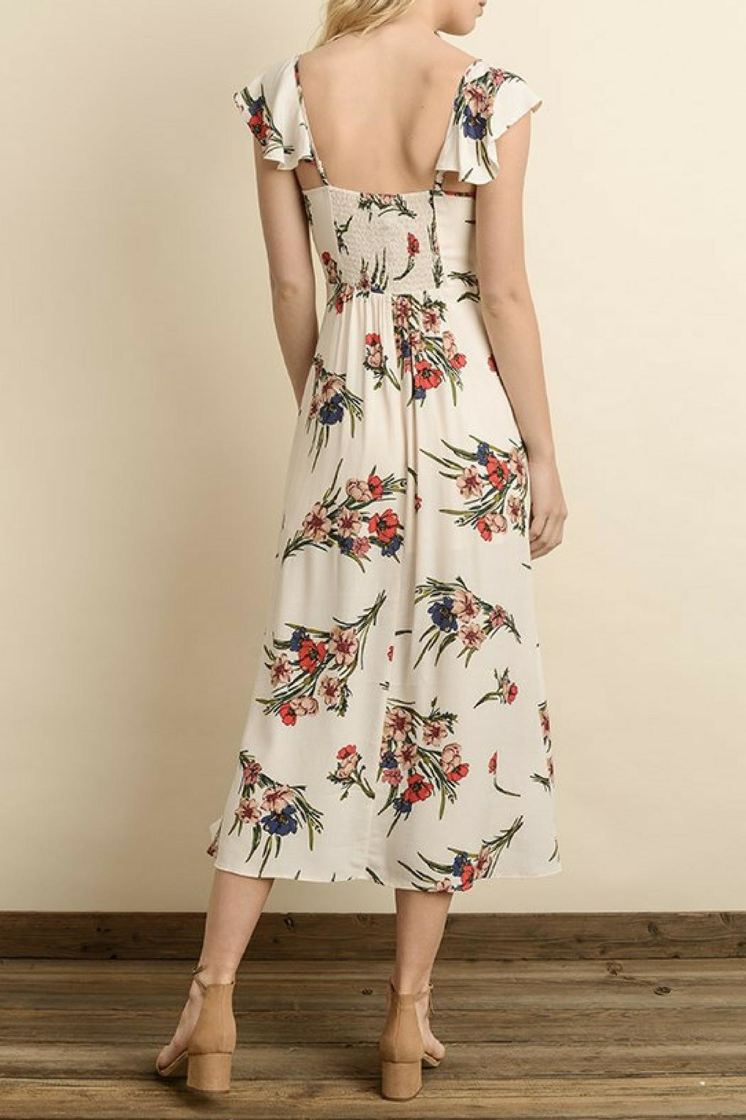 dress forum Floral Button-Down Midi - Front Full Image