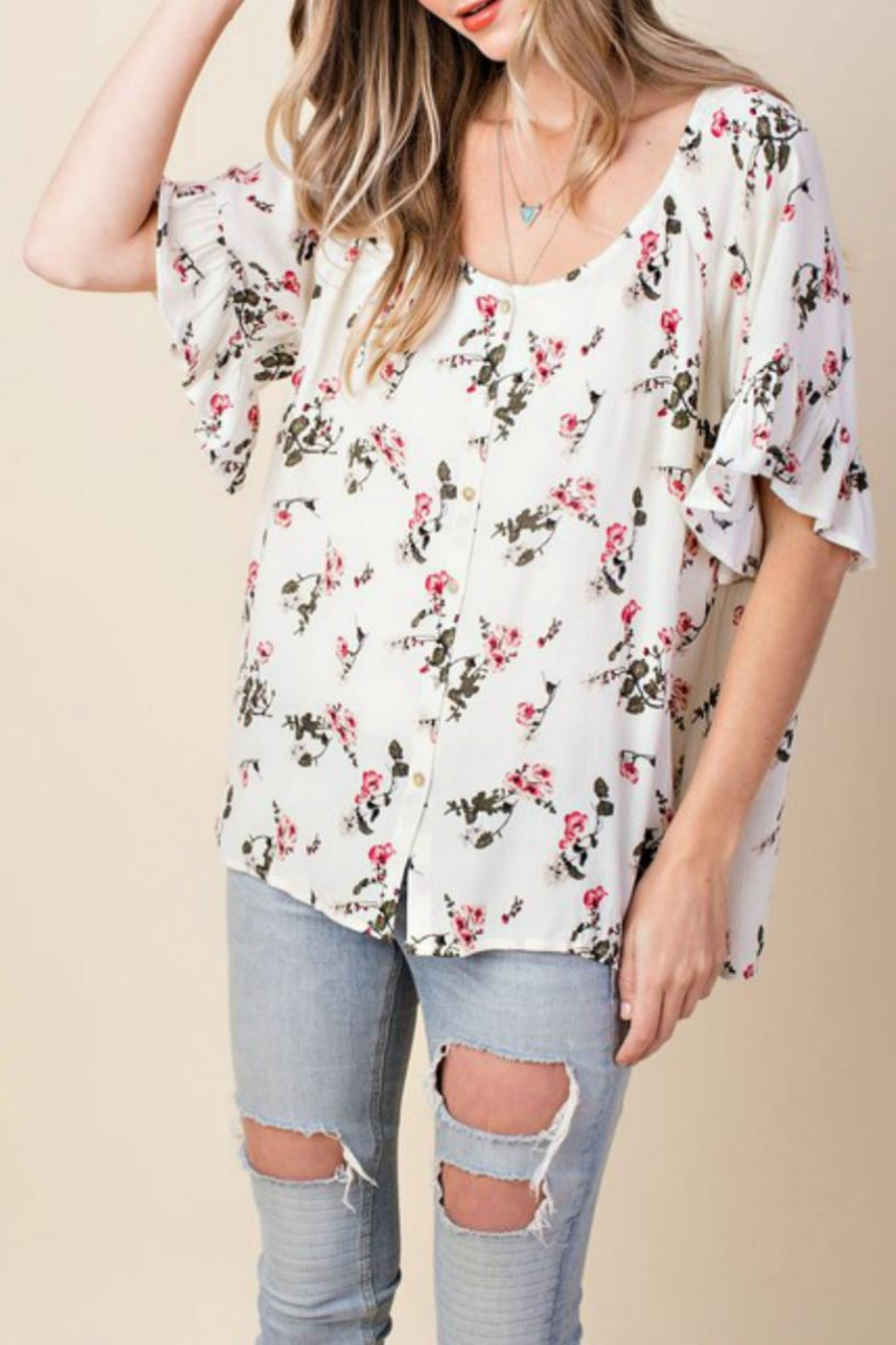 KORI AMERICA Floral Button-Down Top - Side Cropped Image