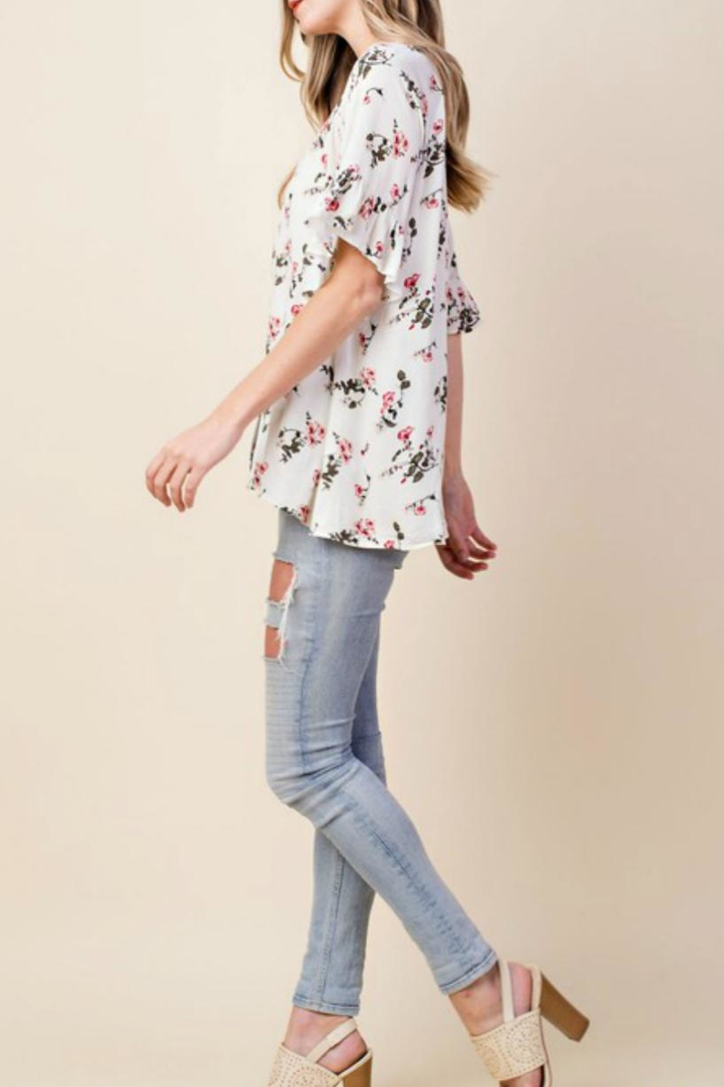 KORI AMERICA Floral Button-Down Top - Front Full Image