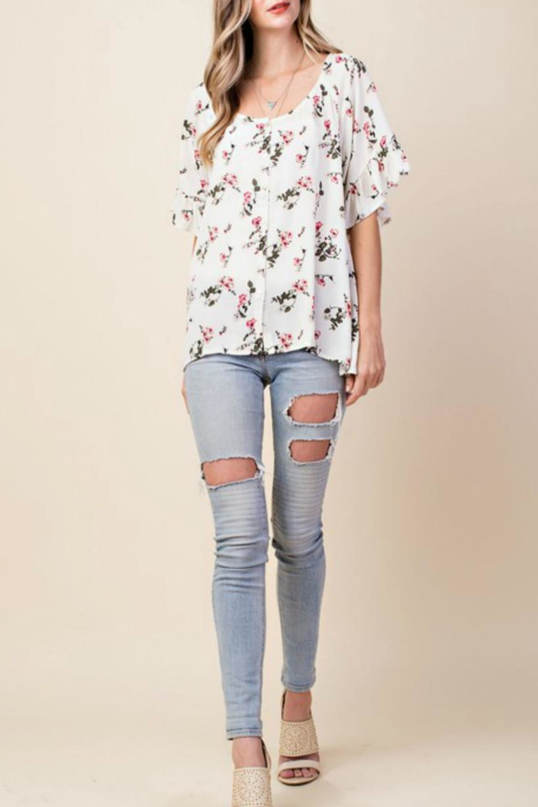 KORI AMERICA Floral Button-Down Top - Back Cropped Image