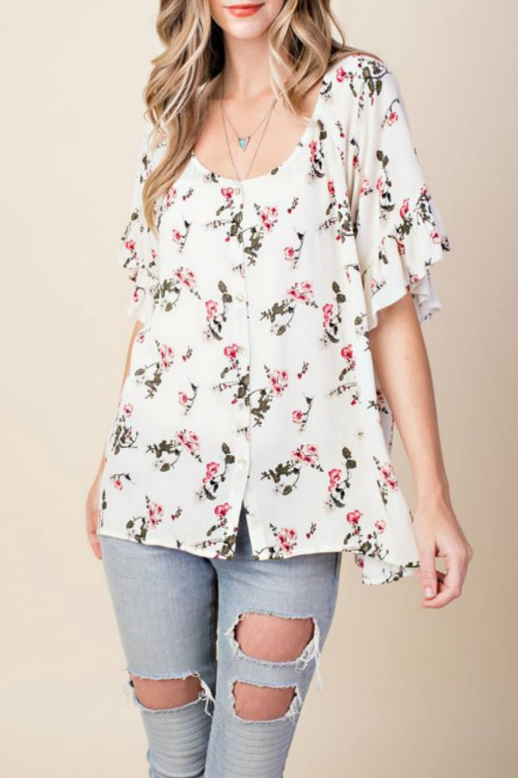 KORI AMERICA Floral Button-Down Top - Main Image