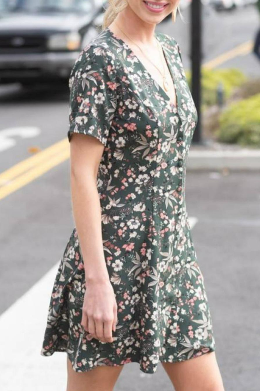 Hyped Unicorn Floral Button-Front Dress - Front Full Image