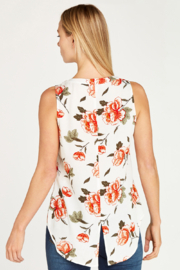 Apricot Floral Button Front Slvls Blouse - Front full body